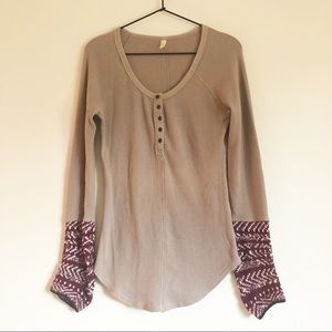 Free People Thermal Henley Art Class Knit Cuff